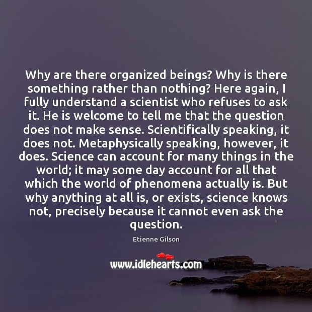 Why are there organized beings? Why is there something rather than nothing? Image