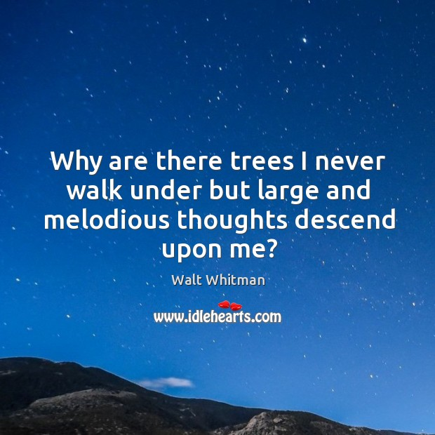 Why are there trees I never walk under but large and melodious thoughts descend upon me? Image