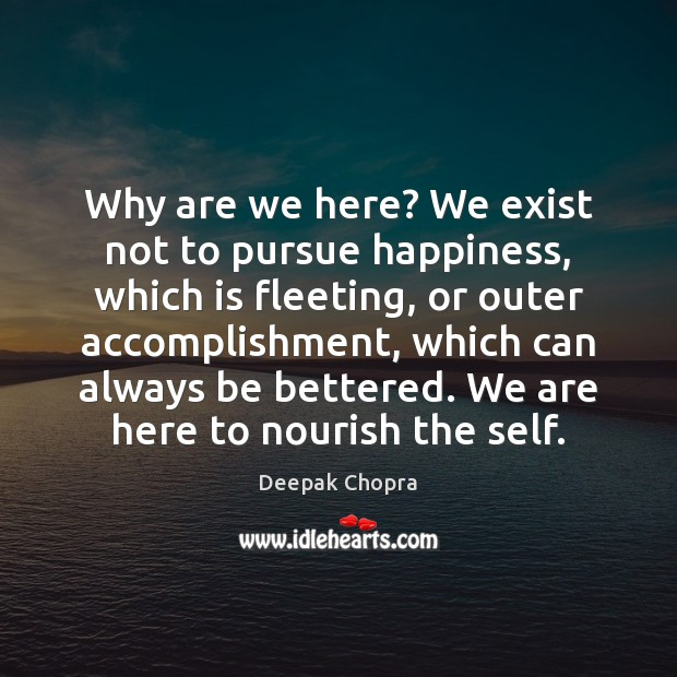 Image, Why are we here? We exist not to pursue happiness, which is