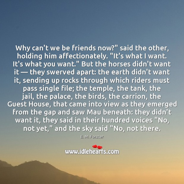"""Why can't we be friends now?"""" said the other, holding him affectionately. """" E. M. Forster Picture Quote"""