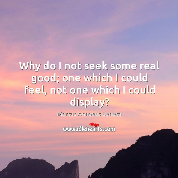 Why do I not seek some real good; one which I could feel, not one which I could display? Marcus Annaeus Seneca Picture Quote