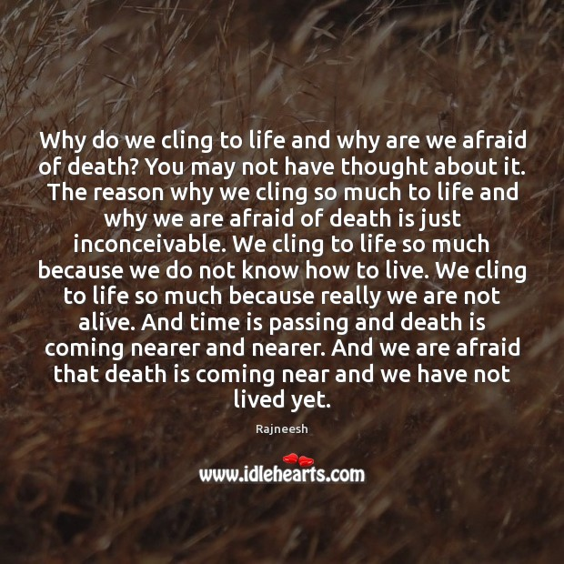 Why do we cling to life and why are we afraid of Image