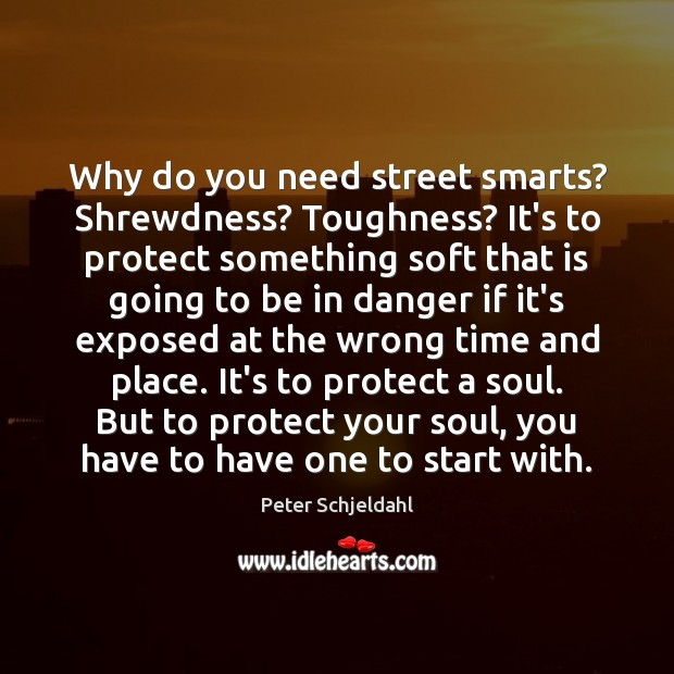 Why do you need street smarts? Shrewdness? Toughness? It's to protect something Peter Schjeldahl Picture Quote