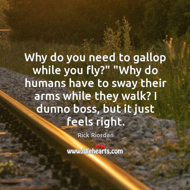 """Why do you need to gallop while you fly?"""" """"Why do humans Rick Riordan Picture Quote"""