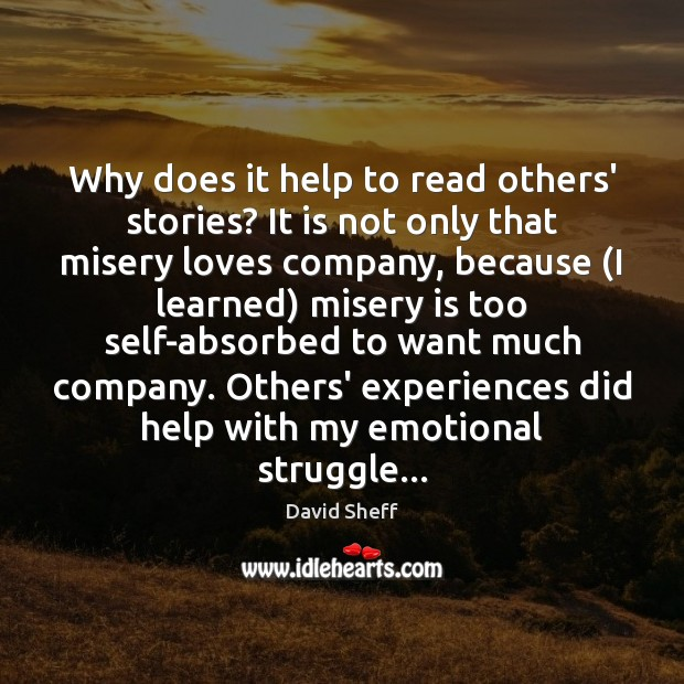 Why does it help to read others' stories? It is not only Image