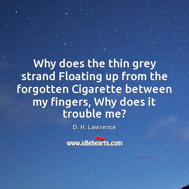 Why does the thin grey strand Floating up from the forgotten Cigarette Image