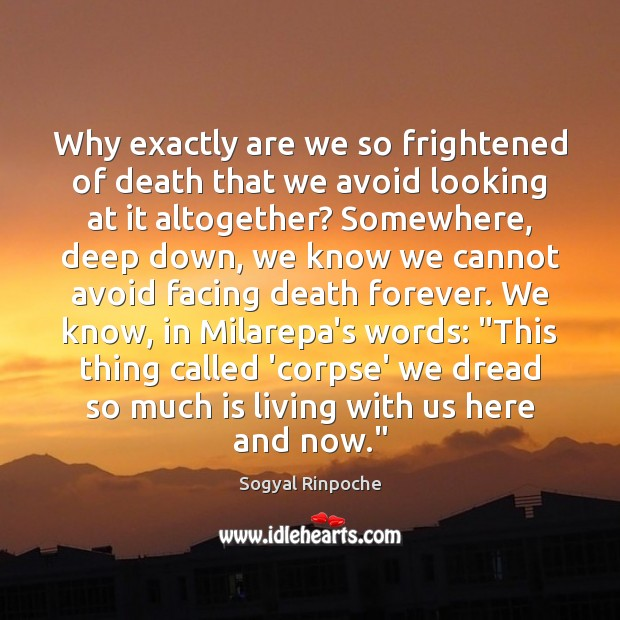 Why exactly are we so frightened of death that we avoid looking Sogyal Rinpoche Picture Quote
