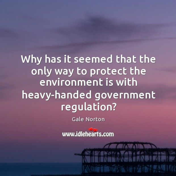 Why has it seemed that the only way to protect the environment is with Gale Norton Picture Quote