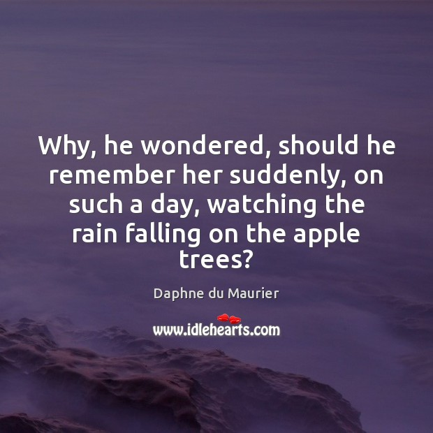 Why, he wondered, should he remember her suddenly, on such a day, Daphne du Maurier Picture Quote