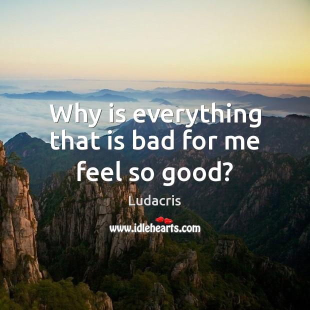 Image, Why is everything that is bad for me feel so good?