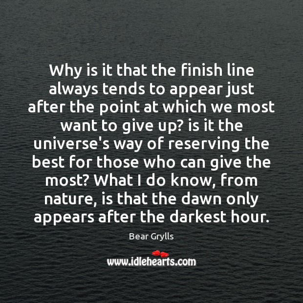 Image, Why is it that the finish line always tends to appear just