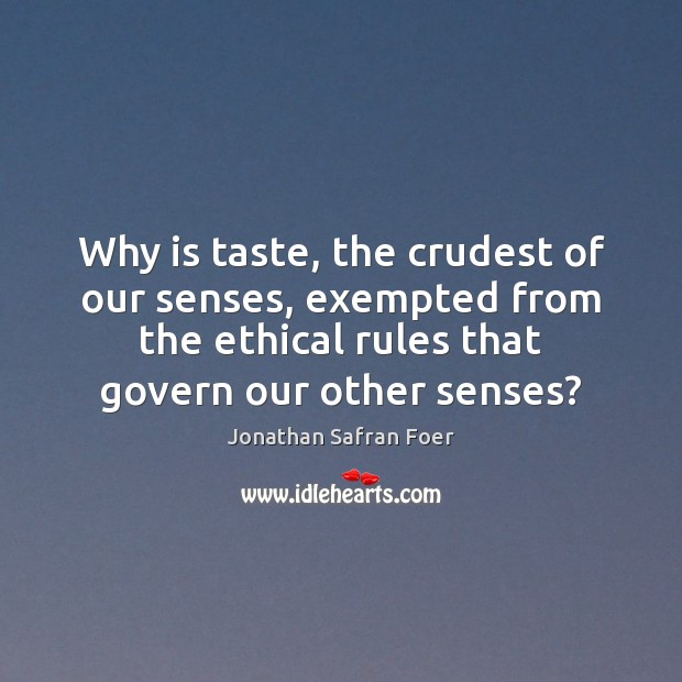 Image, Why is taste, the crudest of our senses, exempted from the ethical