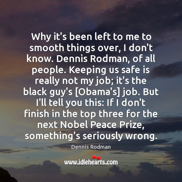Why it's been left to me to smooth things over, I don't Dennis Rodman Picture Quote