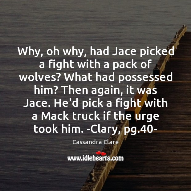 Why, oh why, had Jace picked a fight with a pack of Cassandra Clare Picture Quote