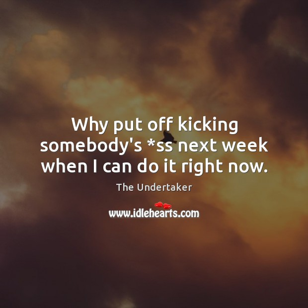 Why put off kicking somebody's *ss next week when I can do it right now. The Undertaker Picture Quote