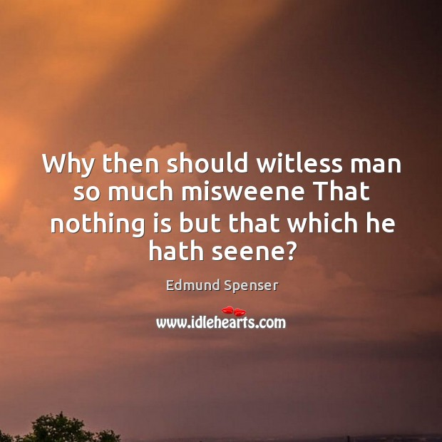 Why then should witless man so much misweene That nothing is but that which he hath seene? Image