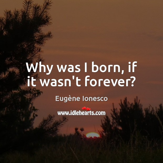 Image, Why was I born, if it wasn't forever?