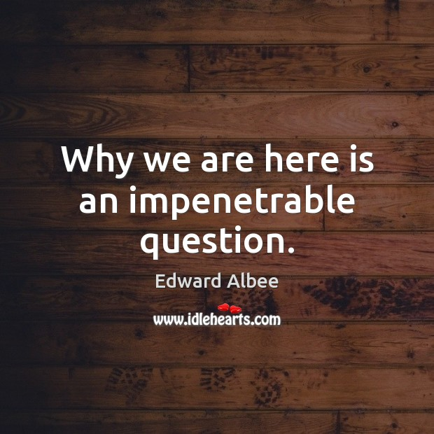 Why we are here is an impenetrable question. Edward Albee Picture Quote