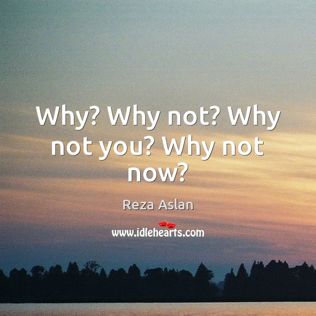 Why? Why not? Why not you? Why not now? Reza Aslan Picture Quote