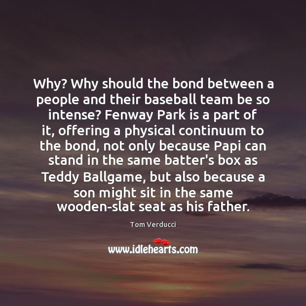 Why? Why should the bond between a people and their baseball team Image