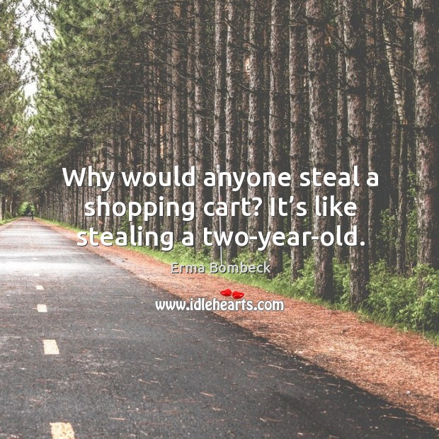 Why would anyone steal a shopping cart? it's like stealing a two-year-old. Image