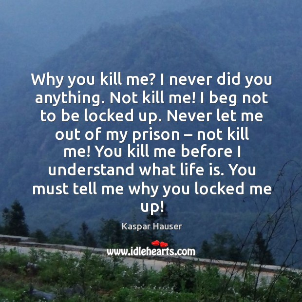 Why you kill me? I never did you anything. Image