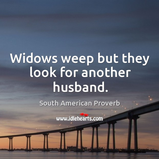 Widows weep but they look for another husband. South American Proverbs Image