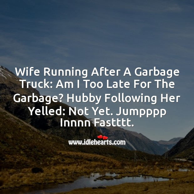 Wife running Funny Messages Image