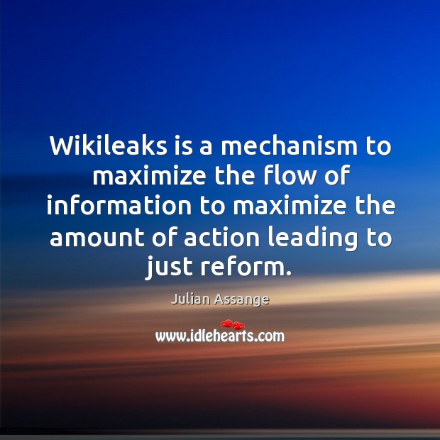 Wikileaks is a mechanism to maximize the flow of information to maximize the amount Image