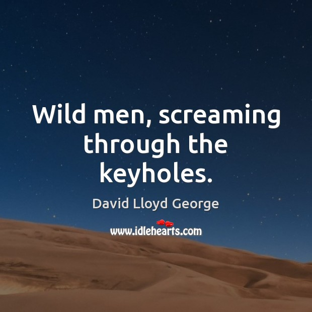 Wild men, screaming through the keyholes. David Lloyd George Picture Quote
