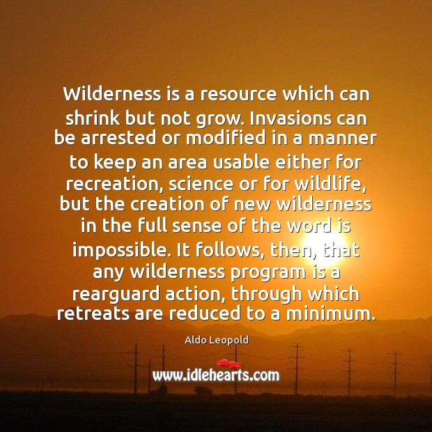 Wilderness is a resource which can shrink but not grow. Invasions can Image