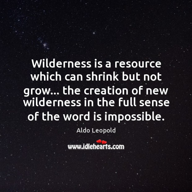 Wilderness is a resource which can shrink but not grow… the creation Image
