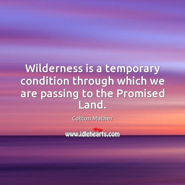 Wilderness is a temporary condition through which we are passing to the Promised Land. Cotton Mather Picture Quote