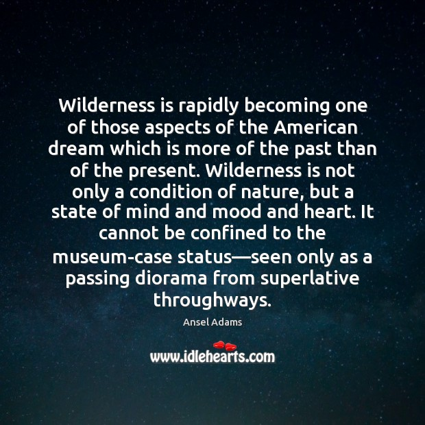 Image, Wilderness is rapidly becoming one of those aspects of the American dream