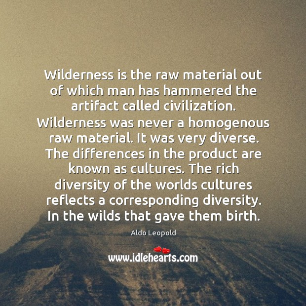 Wilderness is the raw material out of which man has hammered the Image