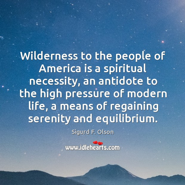 Wilderness to the people of America is a spiritual necessity, an antidote Image