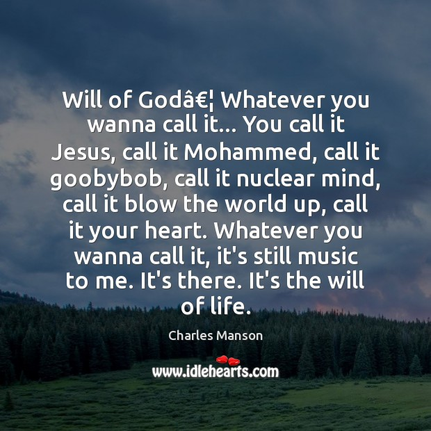 Will of God… Whatever you wanna call it… You call it Jesus, Charles Manson Picture Quote