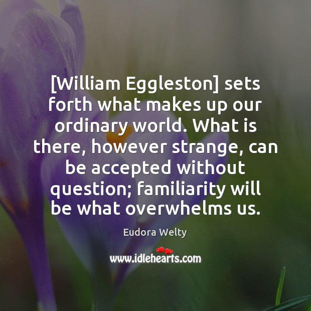 [William Eggleston] sets forth what makes up our ordinary world. What is Eudora Welty Picture Quote