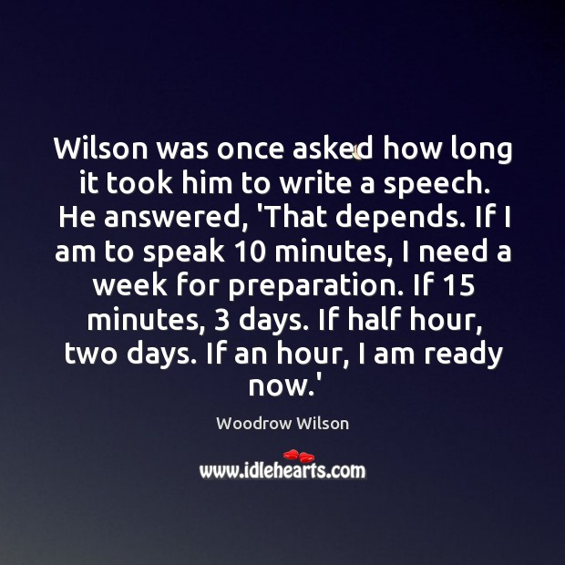 Image, Wilson was once asked how long it took him to write a