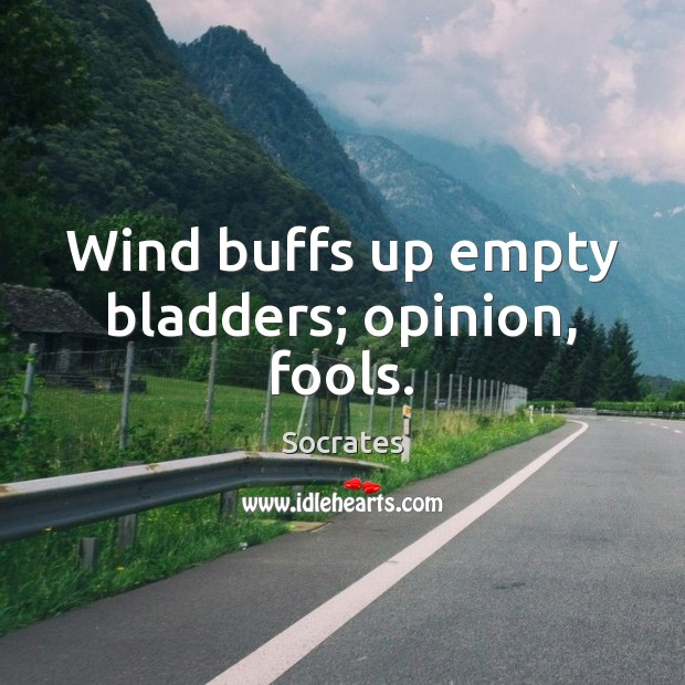 Image, Wind buffs up empty bladders; opinion, fools.