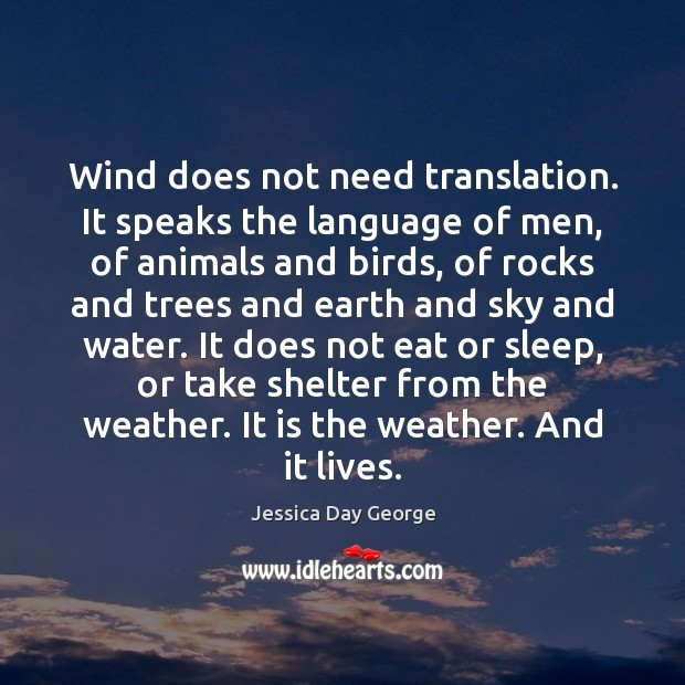 Wind does not need translation. It speaks the language of men, of Image