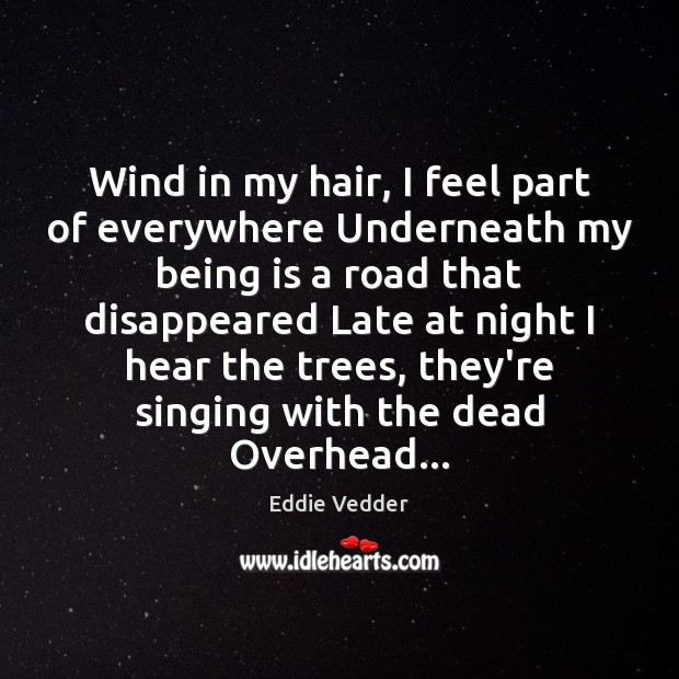 Image, Wind in my hair, I feel part of everywhere Underneath my being