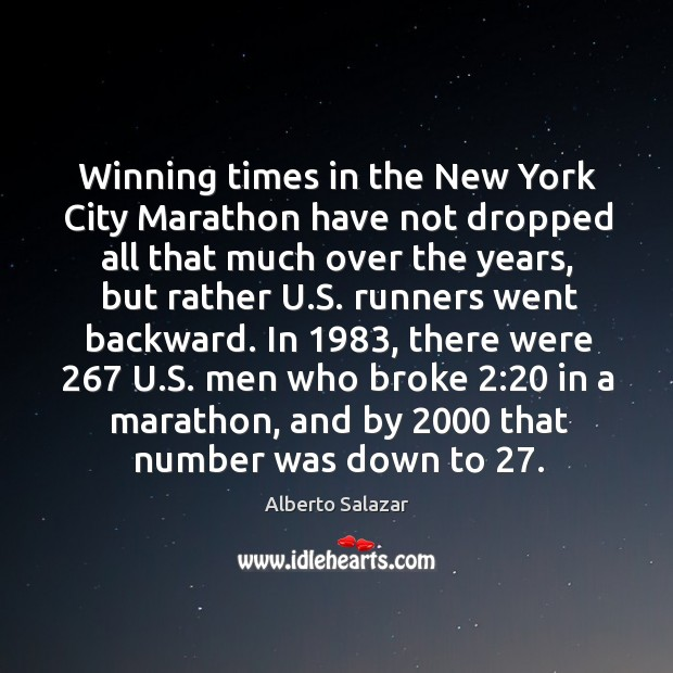 Image, Winning times in the new york city marathon have not dropped all that much over the years