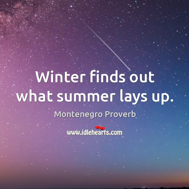 Winter finds out what summer lays up. Montenegro Proverbs Image