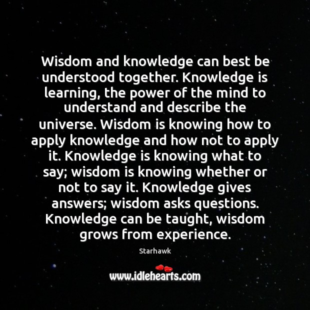 Image, Wisdom and knowledge can best be understood together. Knowledge is learning, the