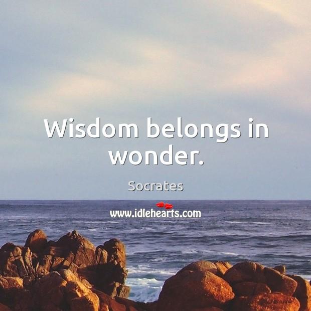 Image, Wisdom belongs in wonder.
