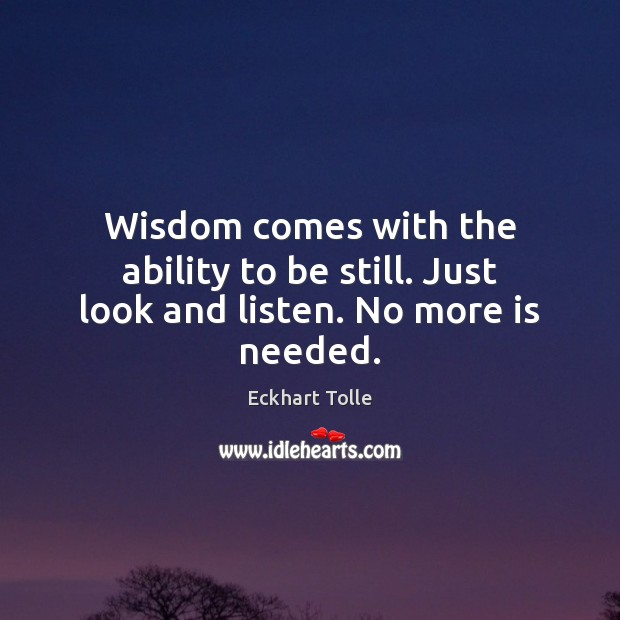 Wisdom comes with the ability to be still. Just look and listen. No more is needed. Image