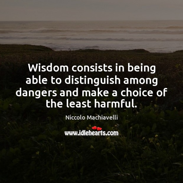 Image, Wisdom consists in being able to distinguish among dangers and make a
