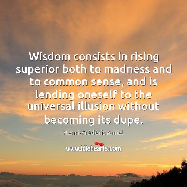 Wisdom consists in rising superior both to madness and to common sense, Image