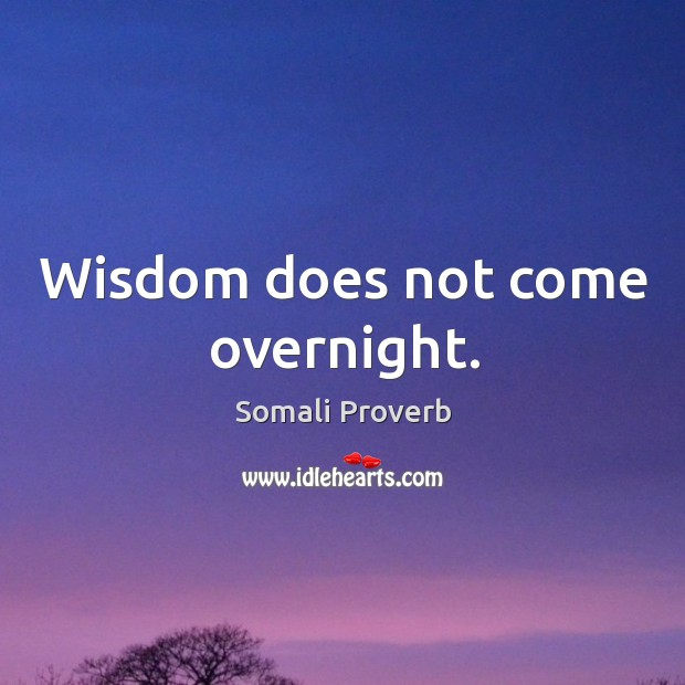 Wisdom does not come overnight. Somali Proverbs Image